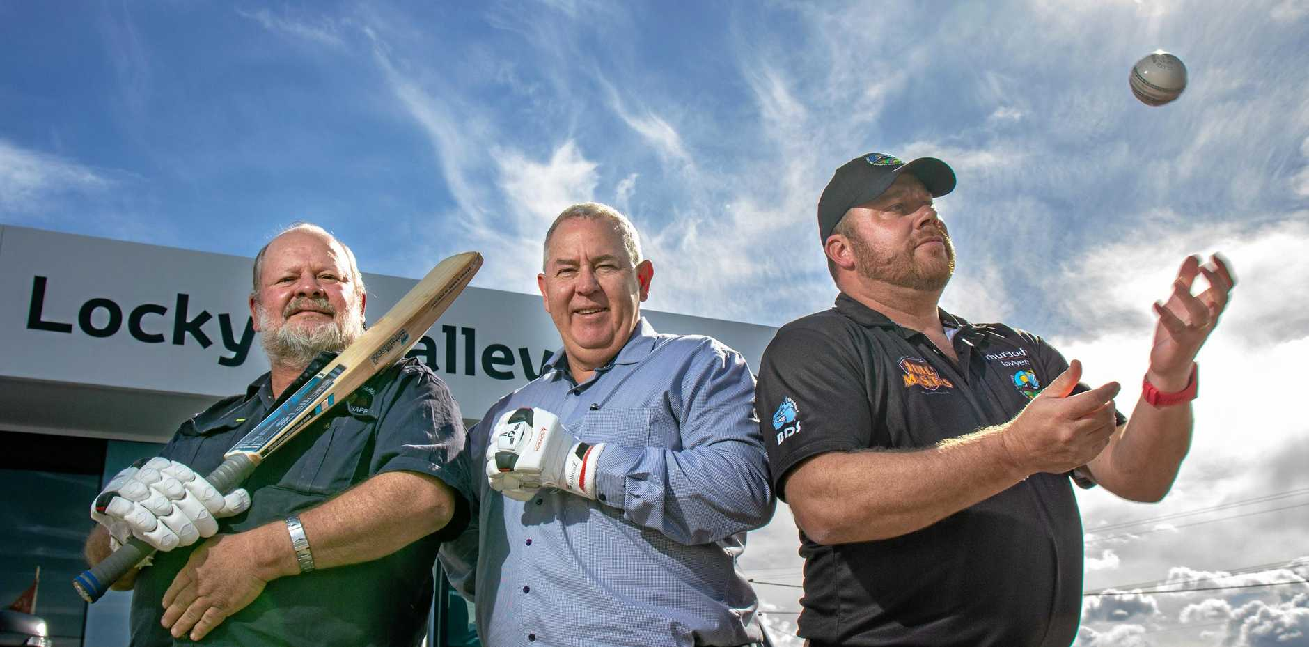 READY TO GO: Valley Raptors T20 team co-owners Lance Pollock and Ian Obrien with Bush Bash League organiser Kent Reimers. The tournament kicks off in September.