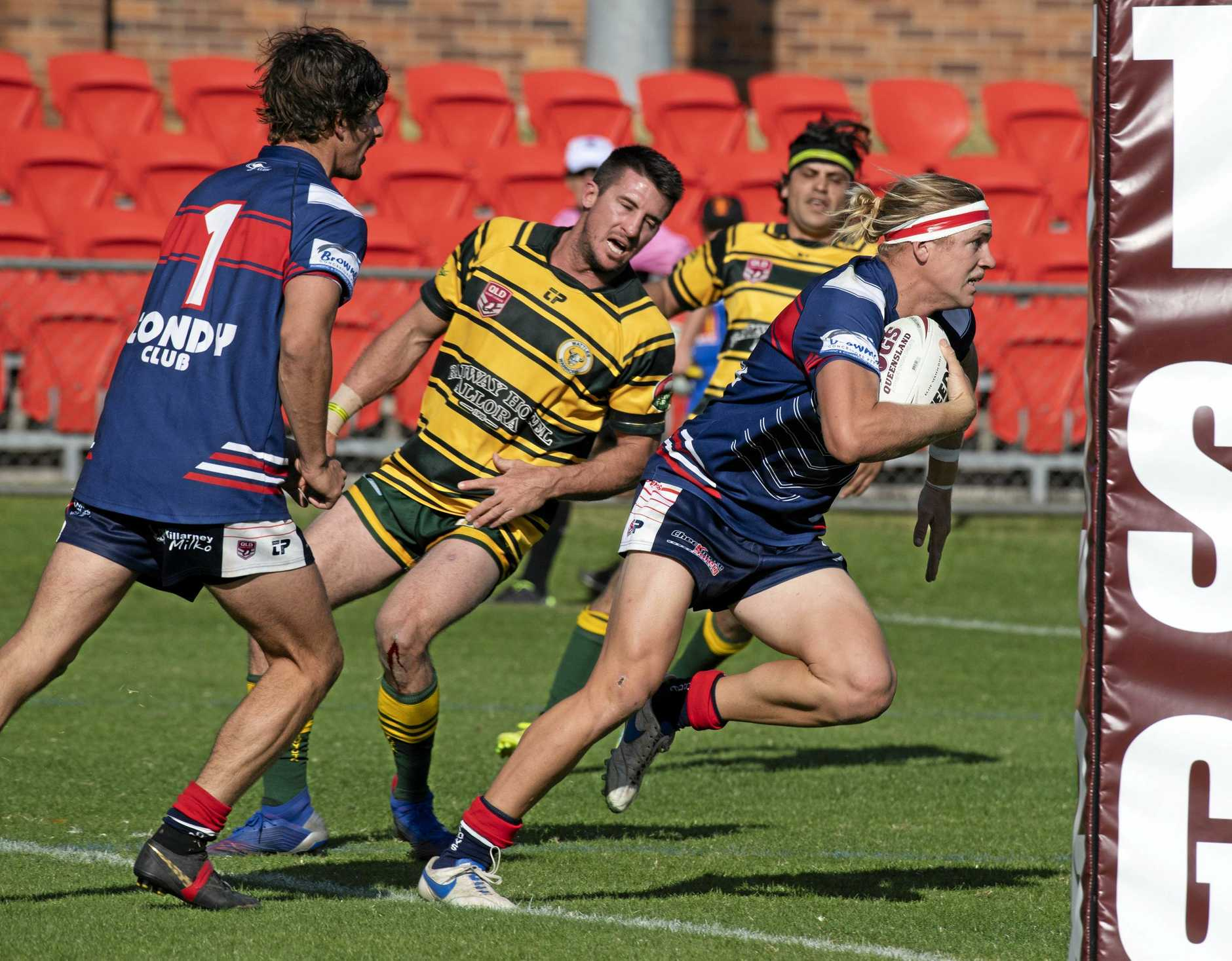 CLASS: Warwick winger Mitch Watson impressed in the Cowboys 26-12 win against Wattles on Sunday in the TRL.