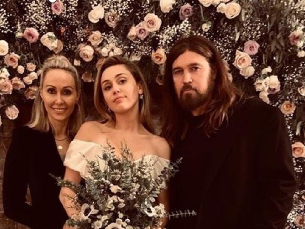 Miley Cyrus and parents Tish and Billy Ray Cyrus on her wedding day to Liam Hemsworth. Picture: Instagram