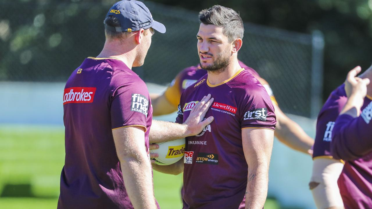 Matt Gillett at Broncos training. Photo: Glenn Hunt/ AAP Imaging