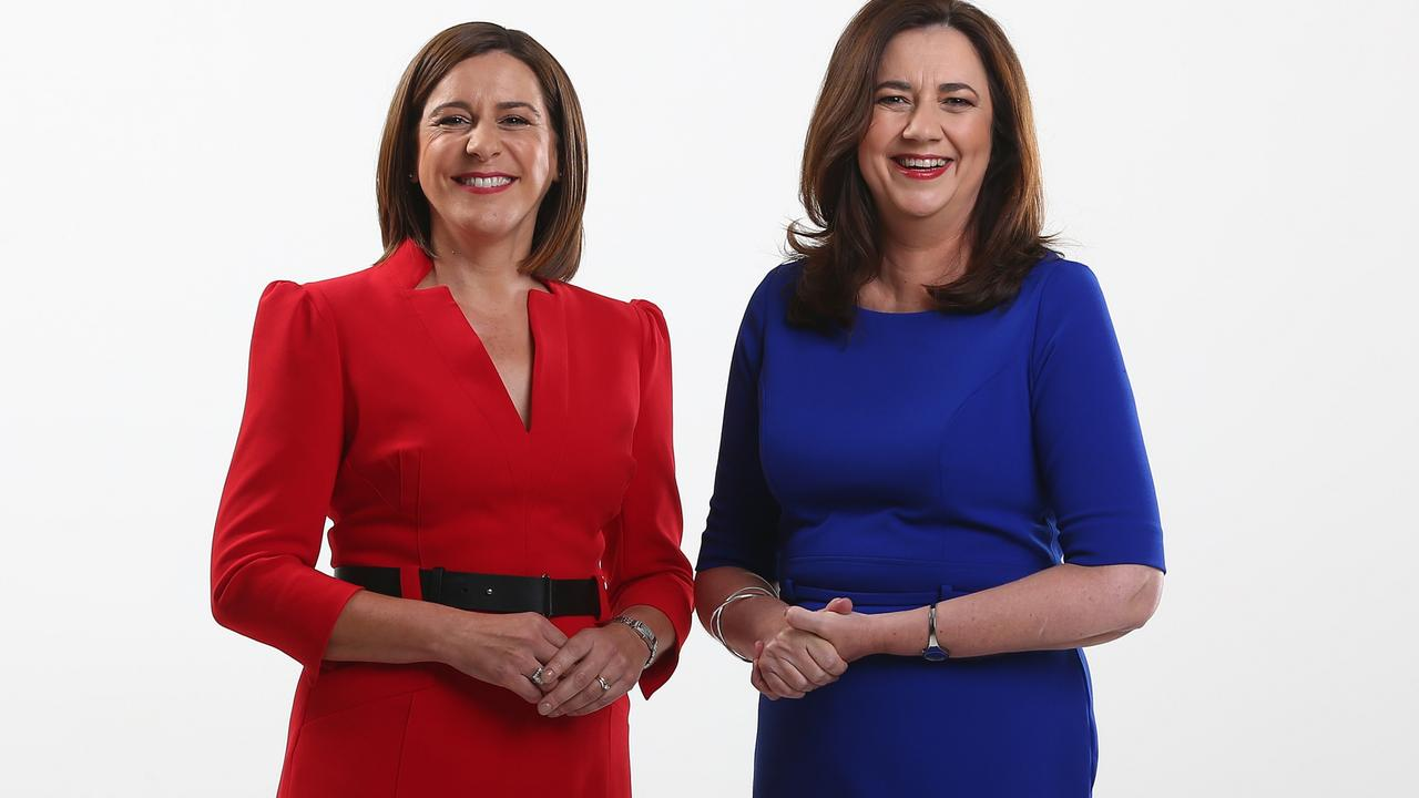 Deb Frecklington, leader of the Liberal National Party with Premier Annastacia Palaszczuk, were among those targeted. Picture: Adam Head