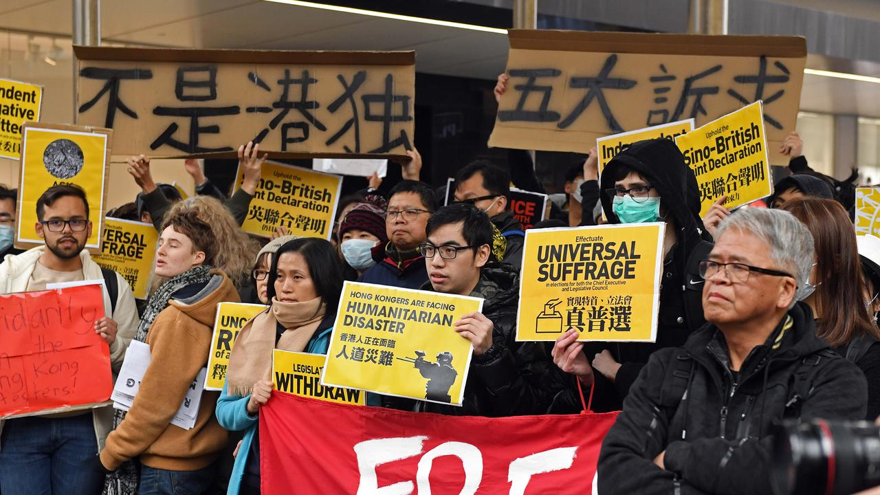 Pro-Hong Kong protesters in Adelaide. Picture: Tom Huntley
