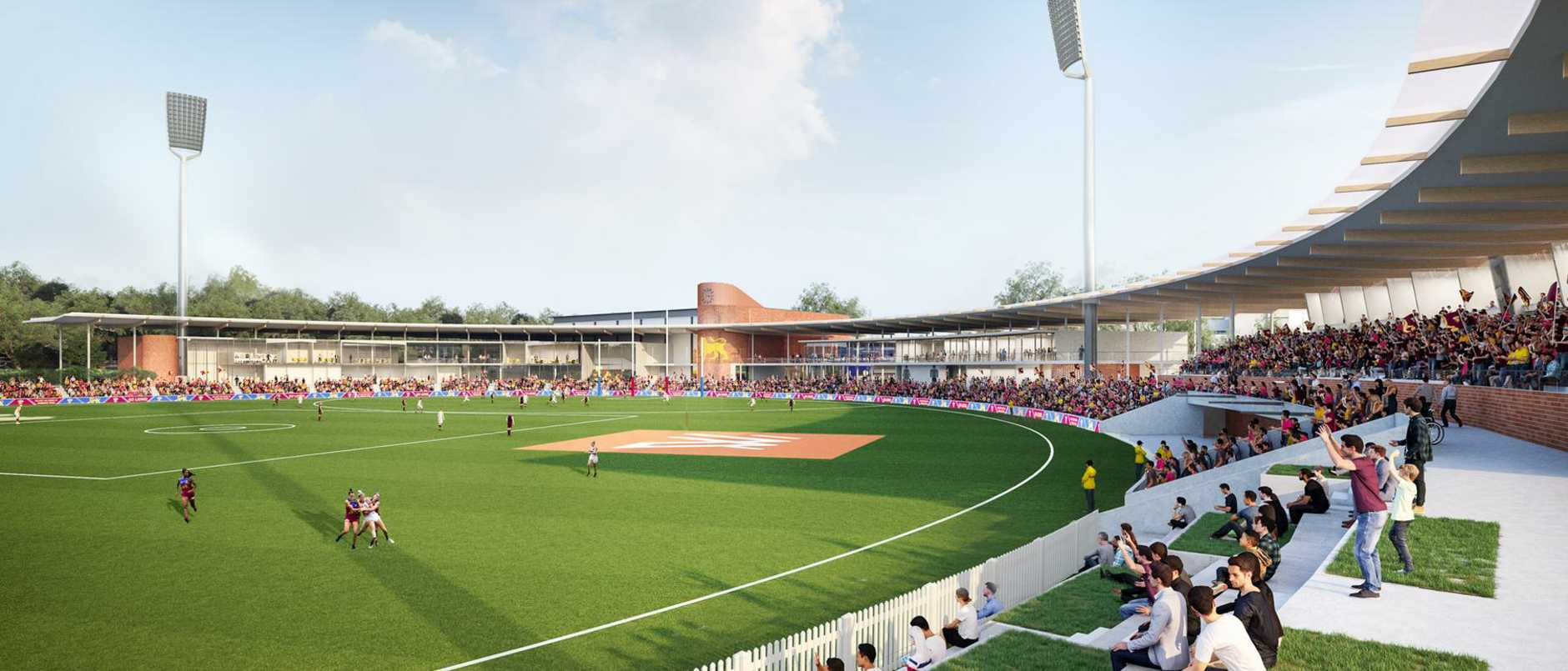 An artist's impression of the $70 million AFLW Springfield Stadium dubbed The Reserve.