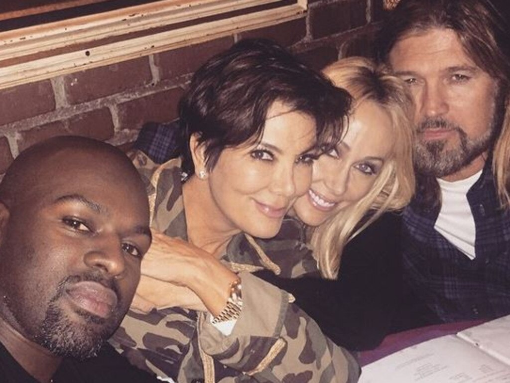 Family ties: Kris Jenner, Brody Jenner's stepmum shares a snap with then-rumoured boyfriend Corey Gamble, Tish and Billy Ray Cyrus in 2015. Picture: Instagram