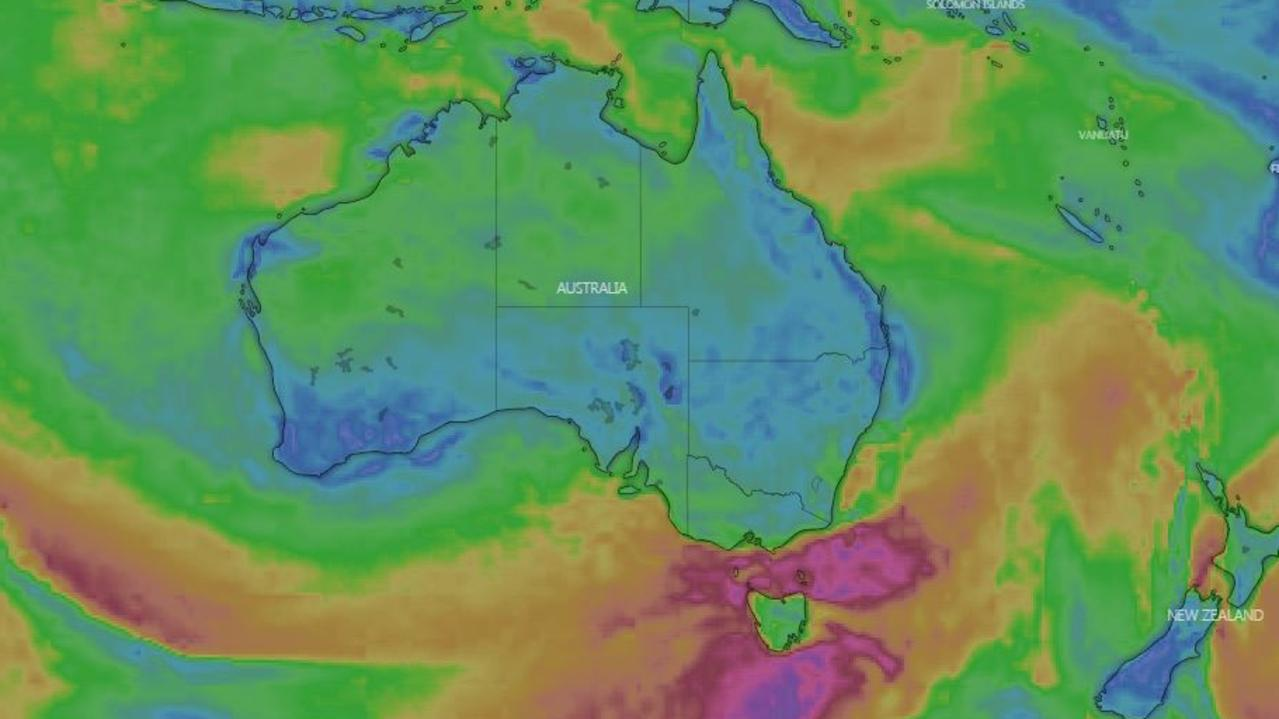 Winds are set to bring cold and wet weather to much of southern Australia this week. Picture: Windy.