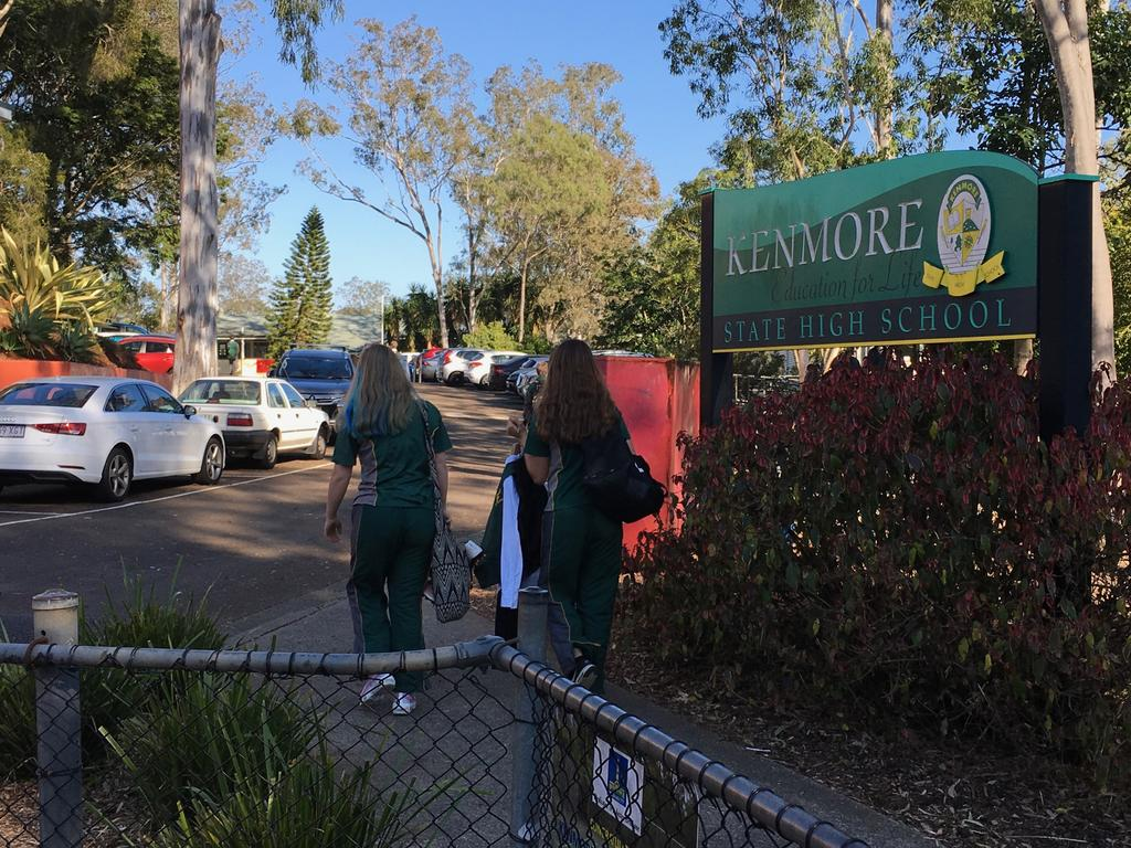 Students at Kenmore State High School are protesting a recent change to the school's uniform policy in a 'day of dissent'. Picture: Darren Cartwright