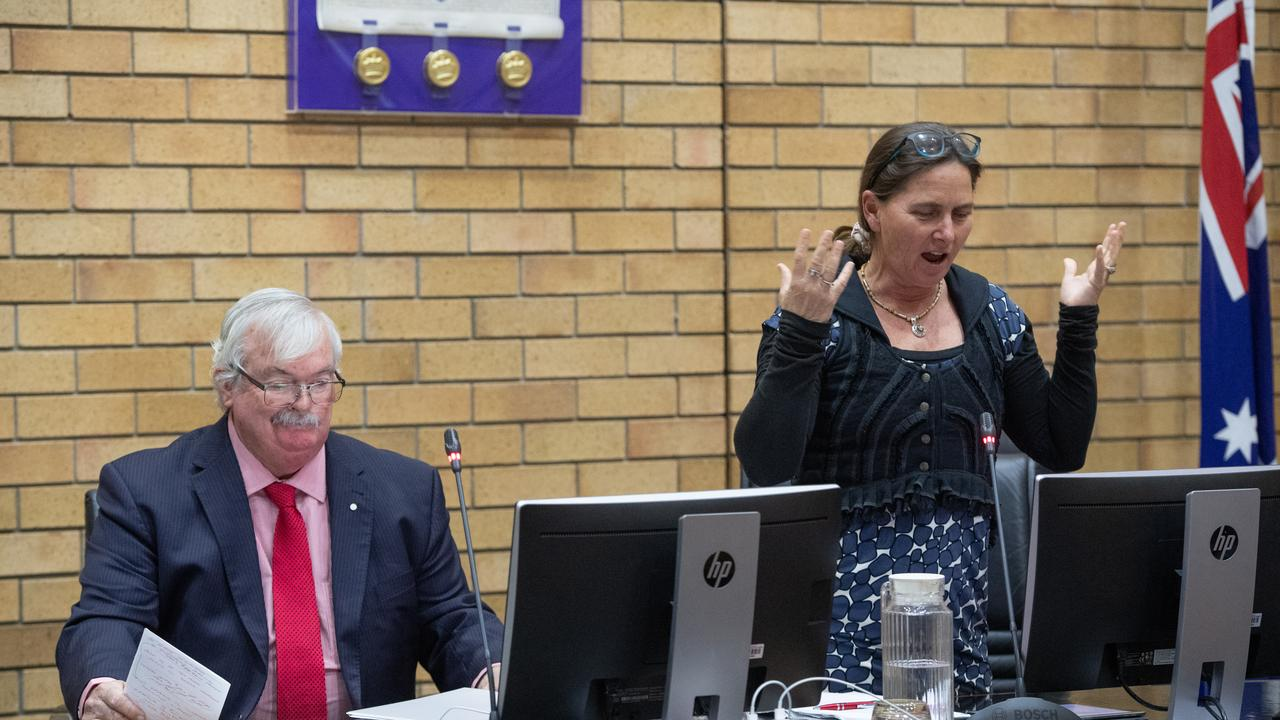 Councillors Keith Rhoades and Sally Townley debate the merits of the controversial project at the August 8 meeting.