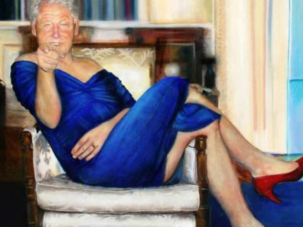The bizarre painting of former US President Bill Clinton by Australian artist Petrina Ryan-Kleid, which was found hanging in Epstein's mansion. Picture: Supplied