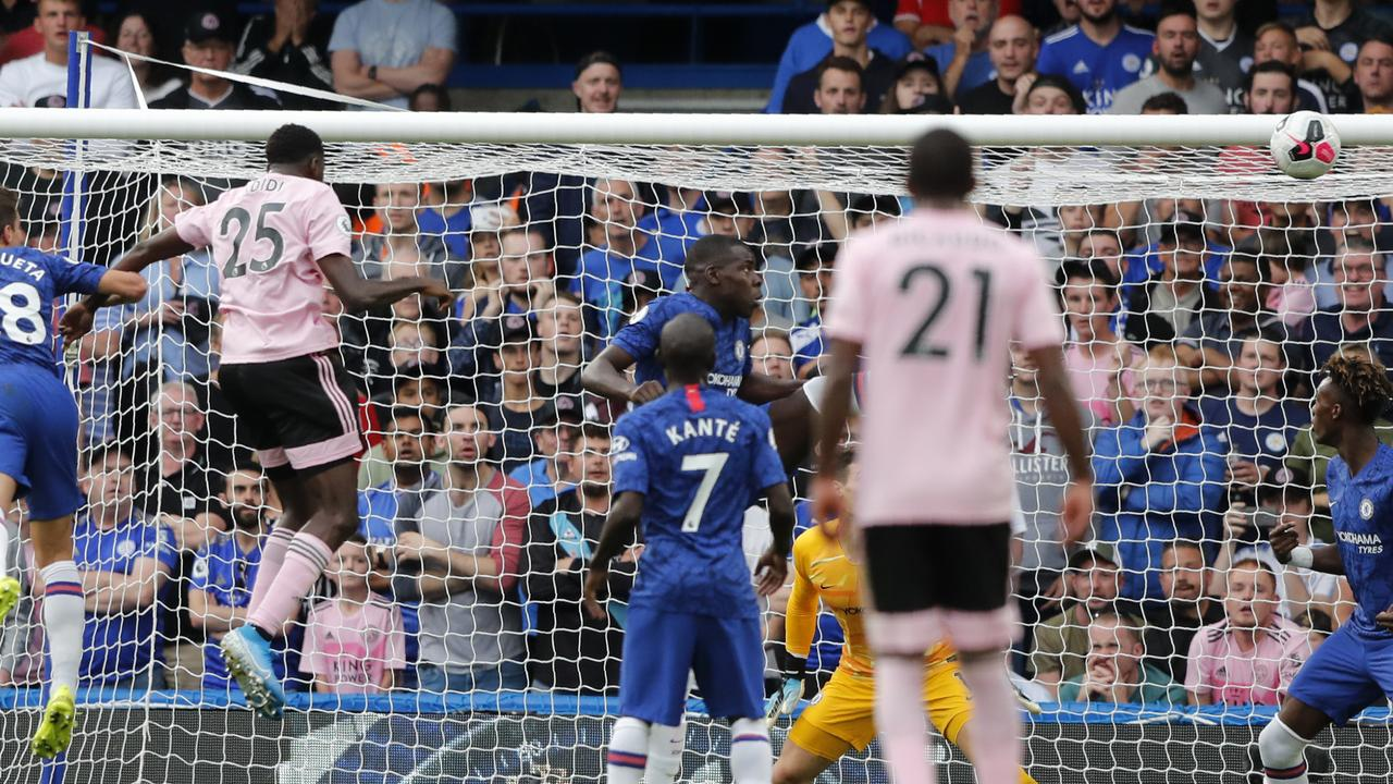 Leicester's Wilfred Ndidi scores the equaliser against Chelsea. (AP Photo/Frank Augstein)