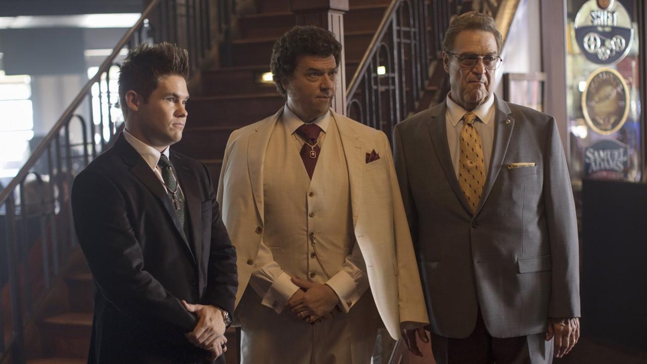 Adam Devine, Danny McBride and John Goodman in a scene from The Righteous Gemstones.