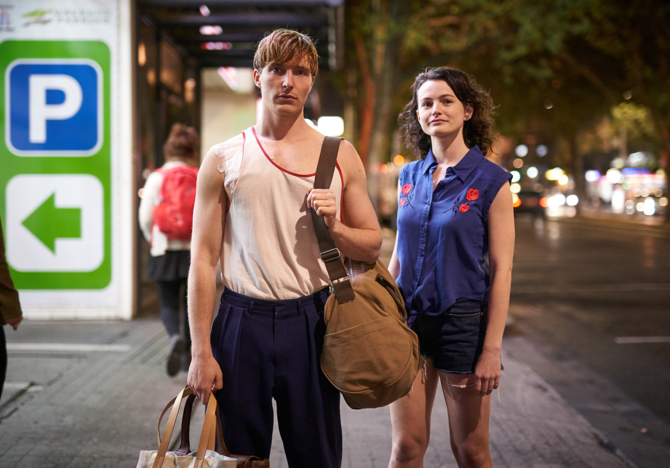 Sean Keenan and Hannah Monson in a scene from the final season of Glitch.