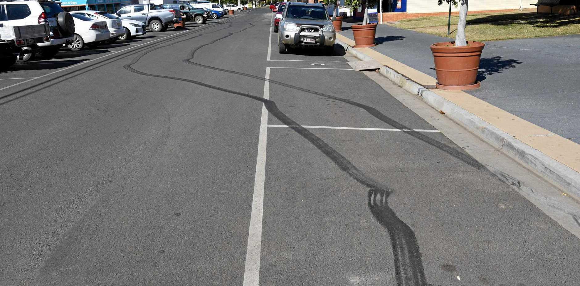 BURNT RUBBER: Tyre marks on Lyons St, Mundubbera, following hooning on Saturday night.