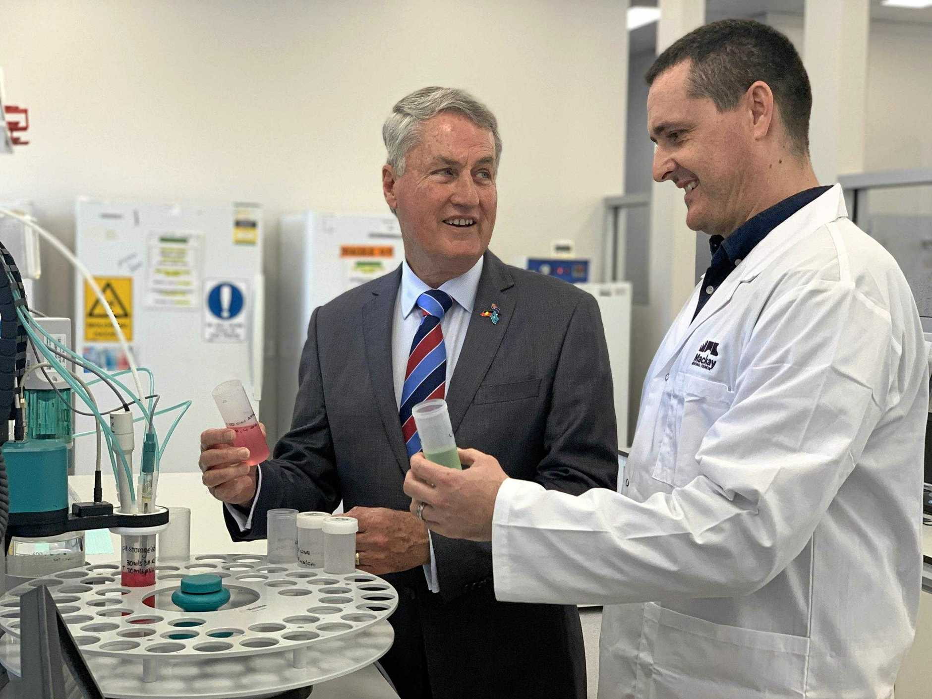 Mayor Greg Williamson, left, and water treatment manager Stuart Boyd inside Mackay Regional Council's new Water and Waste Scientific and Analytical Services laboratory on Connors Road, Paget.