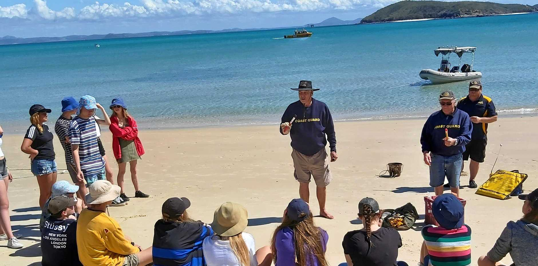 ISLAND EDUCATION: Last Wednesday, members from Coast Guard Yeppoon, Jim Goodsell (centre), Ron O'Grady and Scott Anderson, travelled to Great Keppel Island to provide Marine Studies training for students from Yeppoon High School.