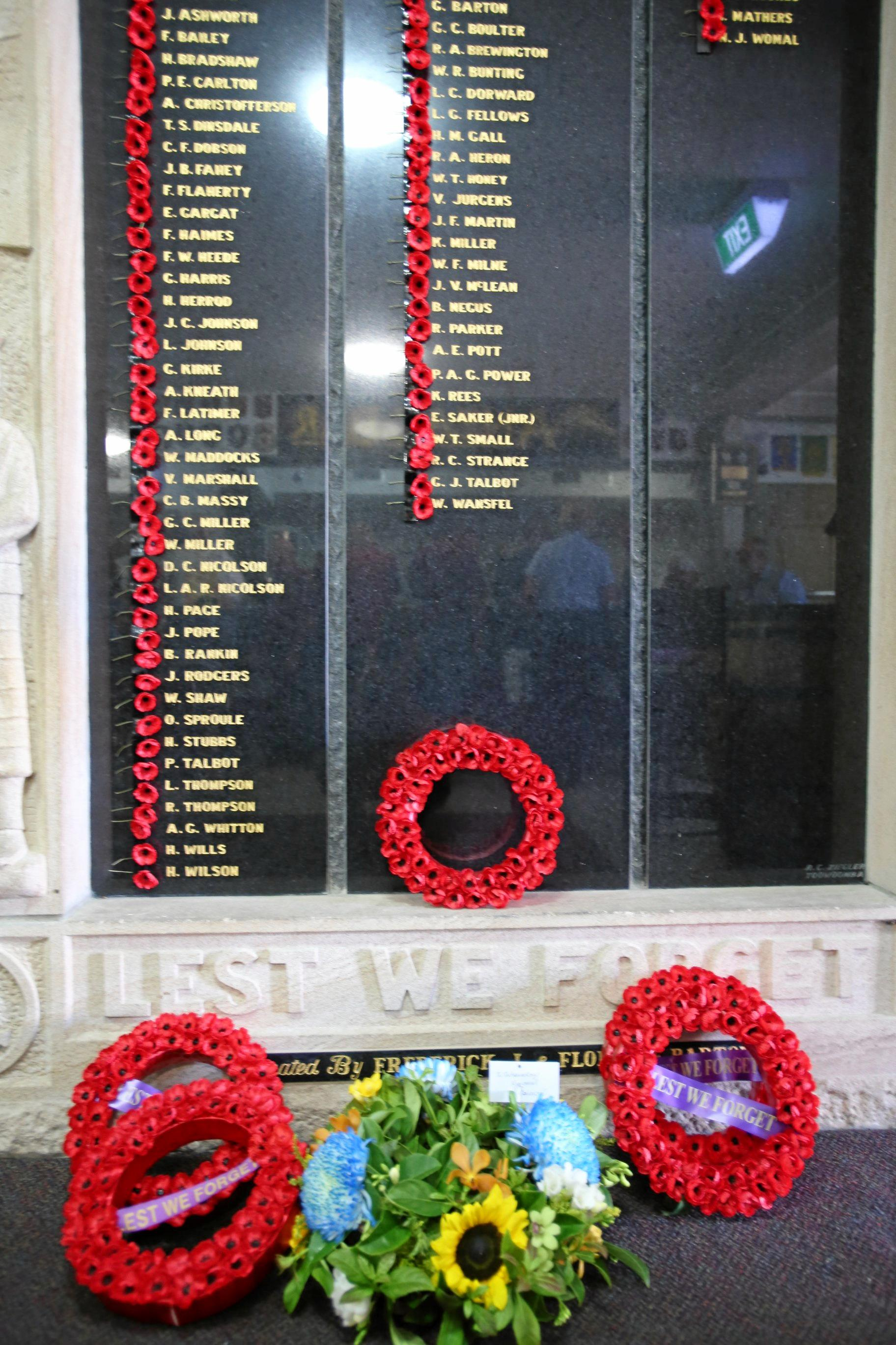 The Bowen RSL wall of remembrance.