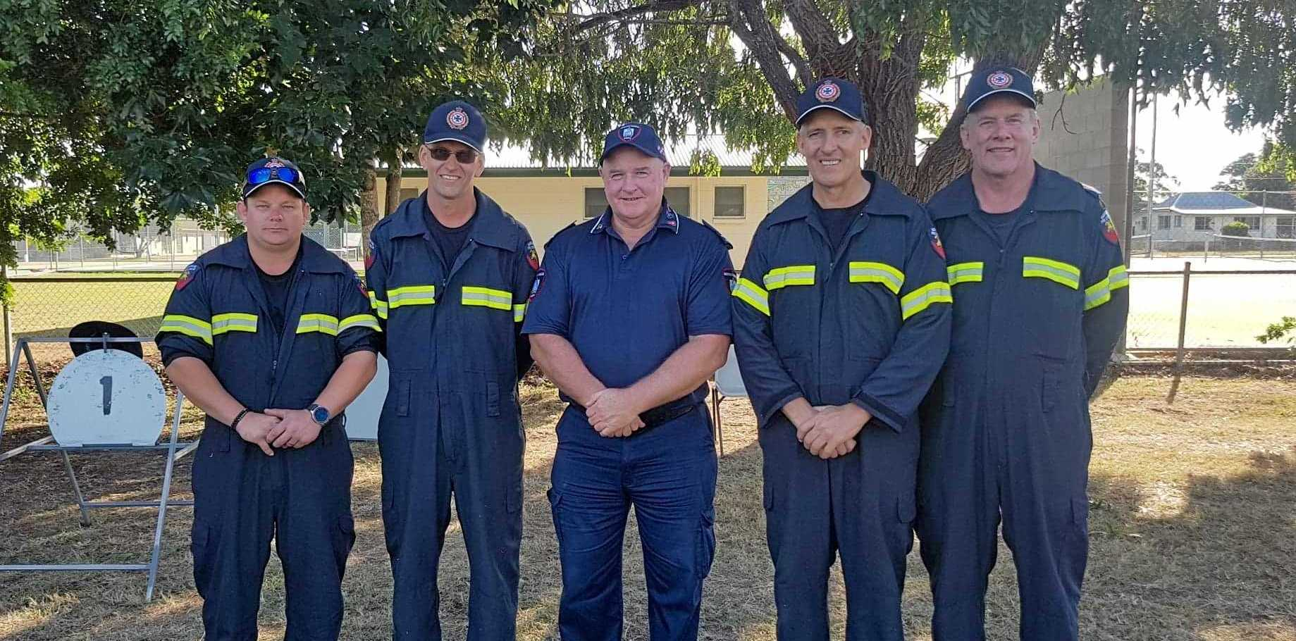 ON THE FRONT LINE: Monto Auxiliary firefighters Tim Haigh, Justin Hiscock, Martin Harm and Ashley Newson with Inspector Craig Lovell.