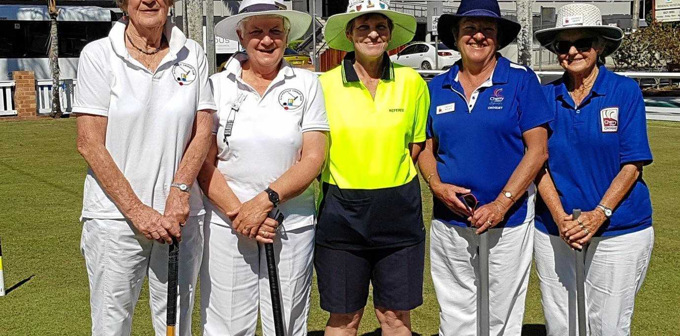 Croquet winners and runners-up pictured with the referee Deborah Matten: on the left Sonja Enzerink and Lorraine Beattie (Alstonville) with Penny Scott and Gloria Drew (Ballina Cherry Street).