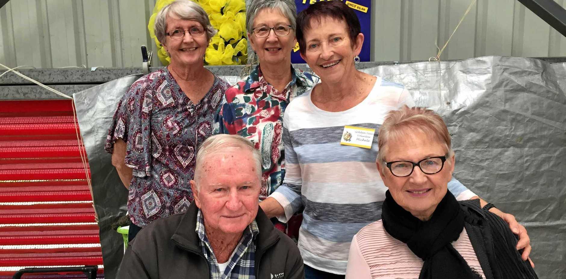 Mackay Golden Years members Liz Wales, Zoe and Michele Shepherd, John Clerc and Rose Sherwell.