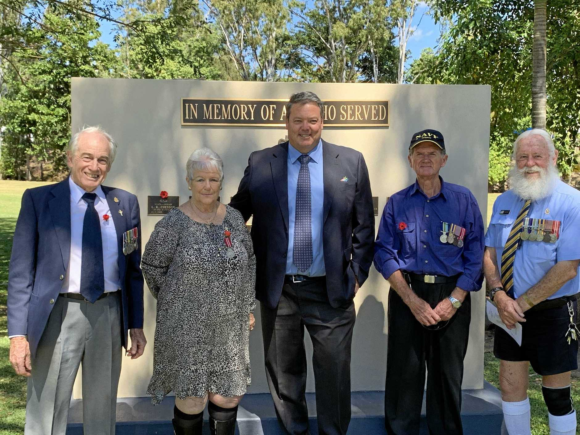 REMEMBERING: Veterans Ken Paterson and Jen Paterson, Whitsunday Regional Council Mayor Andrew Willcox and veterans Peter McKellen and Bill Rose at the Vietnam Veterans Day memorial service at Cannonvale on Friday.