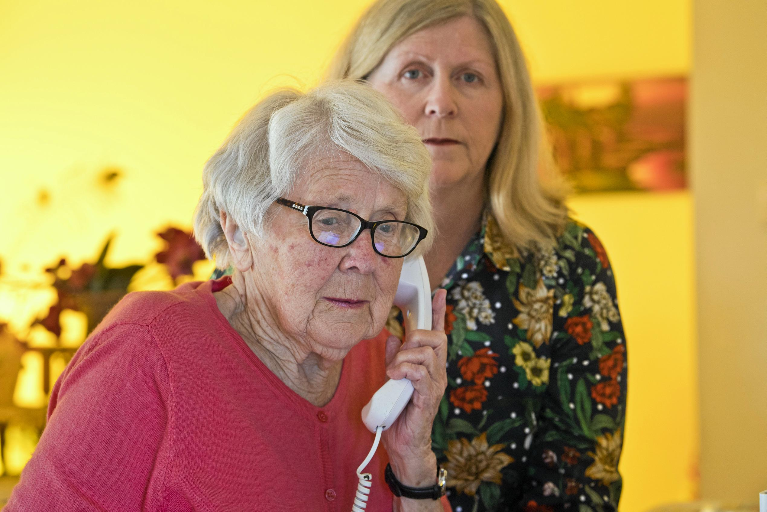 Patricia Woods, with her daughter Mary Cosh, is concerned about losing her CapTel phone service that she uses to overcome deafness and communicate on the phone after Federal Government changes to the national relay service, Monday, August 19, 2019.