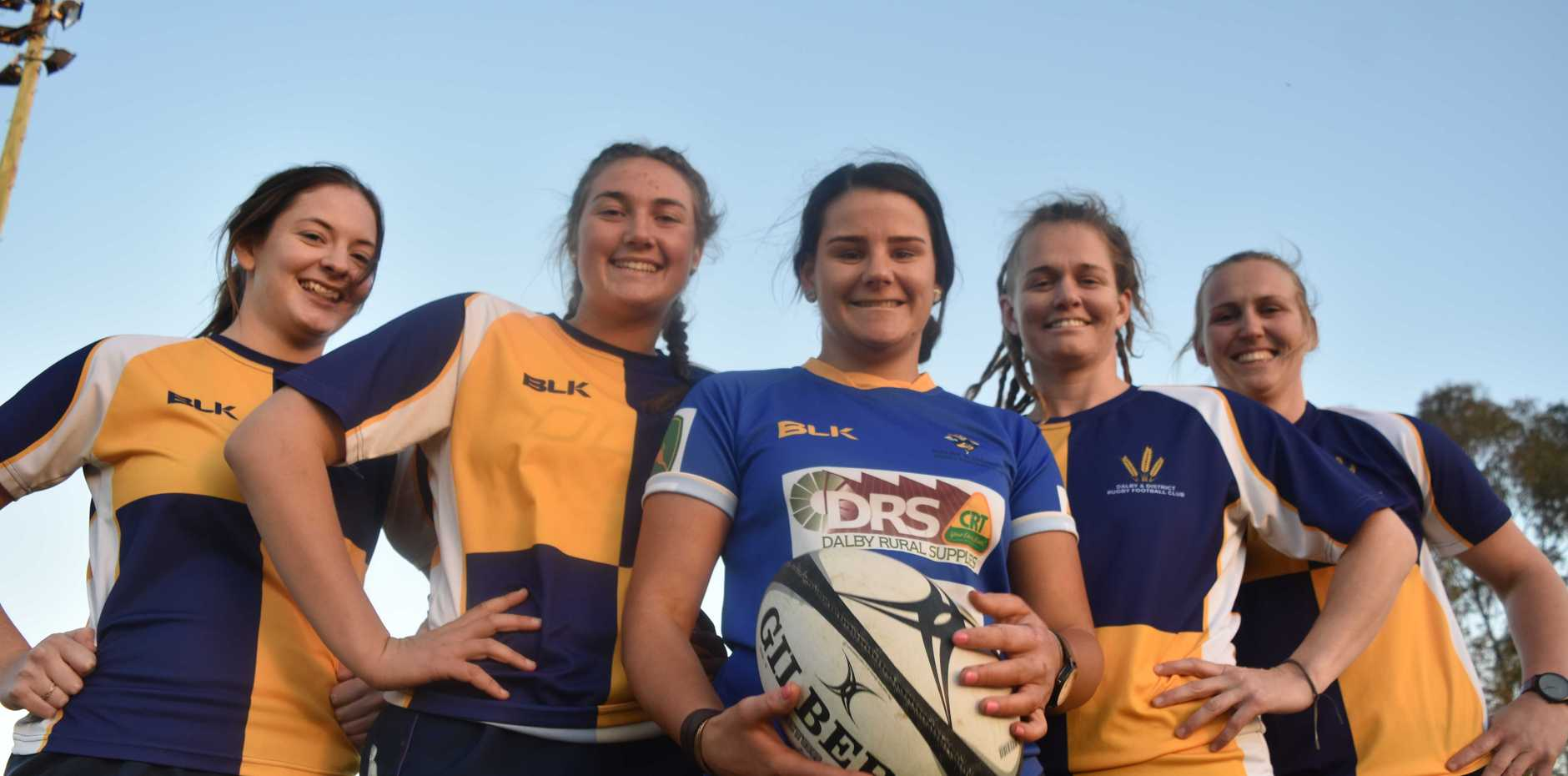 GO GIRLS: Karlee Peltz, Maddy Thompson, Talhia Hornick, Sarah Pearce, and Danielle Plummer are ready to give it their all this week as they prepare for the finals of the Emilee Cherry Womens 7's Cup.