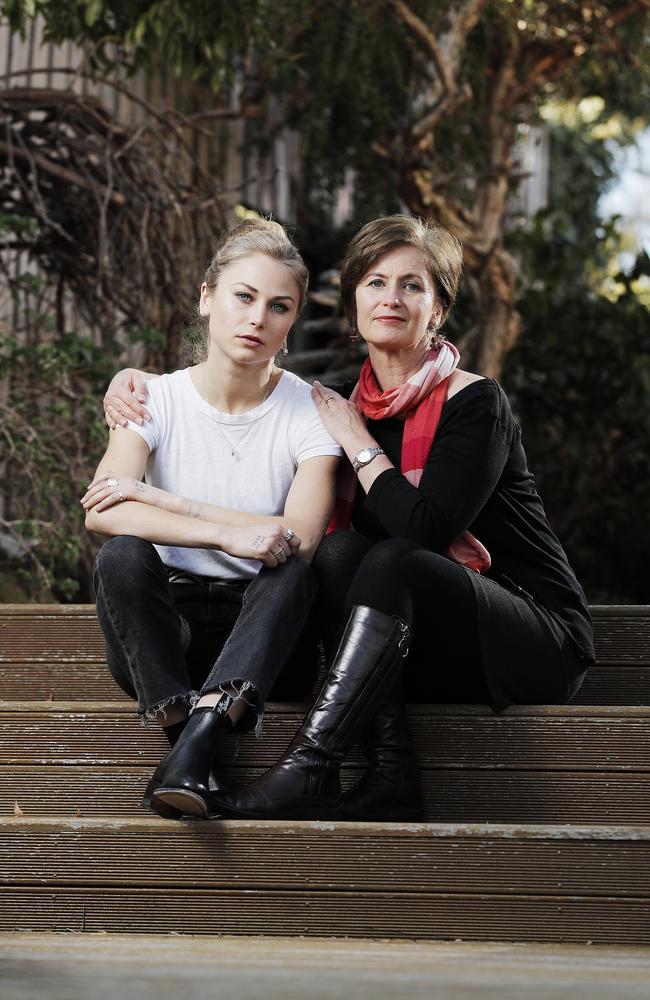 #LetHerSpeak survivor Grace Tame with her mother Penny Plaschke. Picture: Zak Simmonds