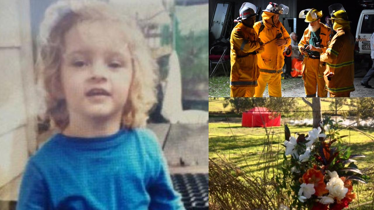 Flowers have been left at a Cootharaba property where three-year-old Elenore Lindsay's body was found after a desperate search for the missing toddler. Photos: John McCutcheon/Contributed