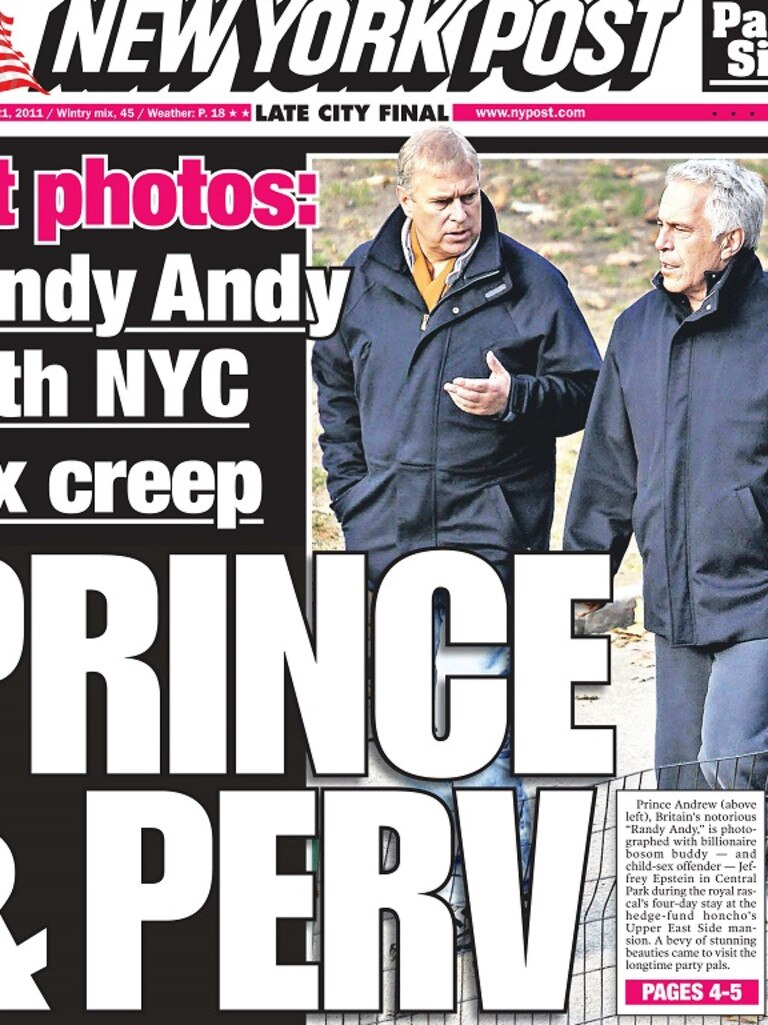 A royal scandal surrounds Prince Andrew and his friendship with the disgraced financier. Picture: Supplied