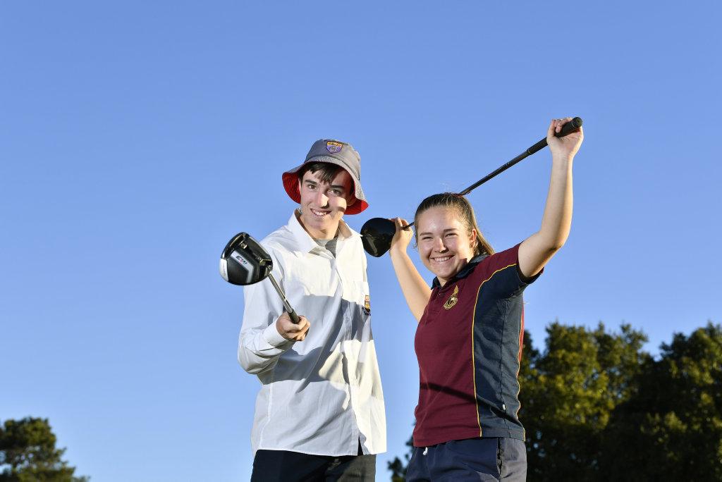 Toowoomba junior golfers Quinn Croker and Kam Dunemann prepare for the School Sport Australia Golf Championships in Perth, Tuesday, August 20, 2019.