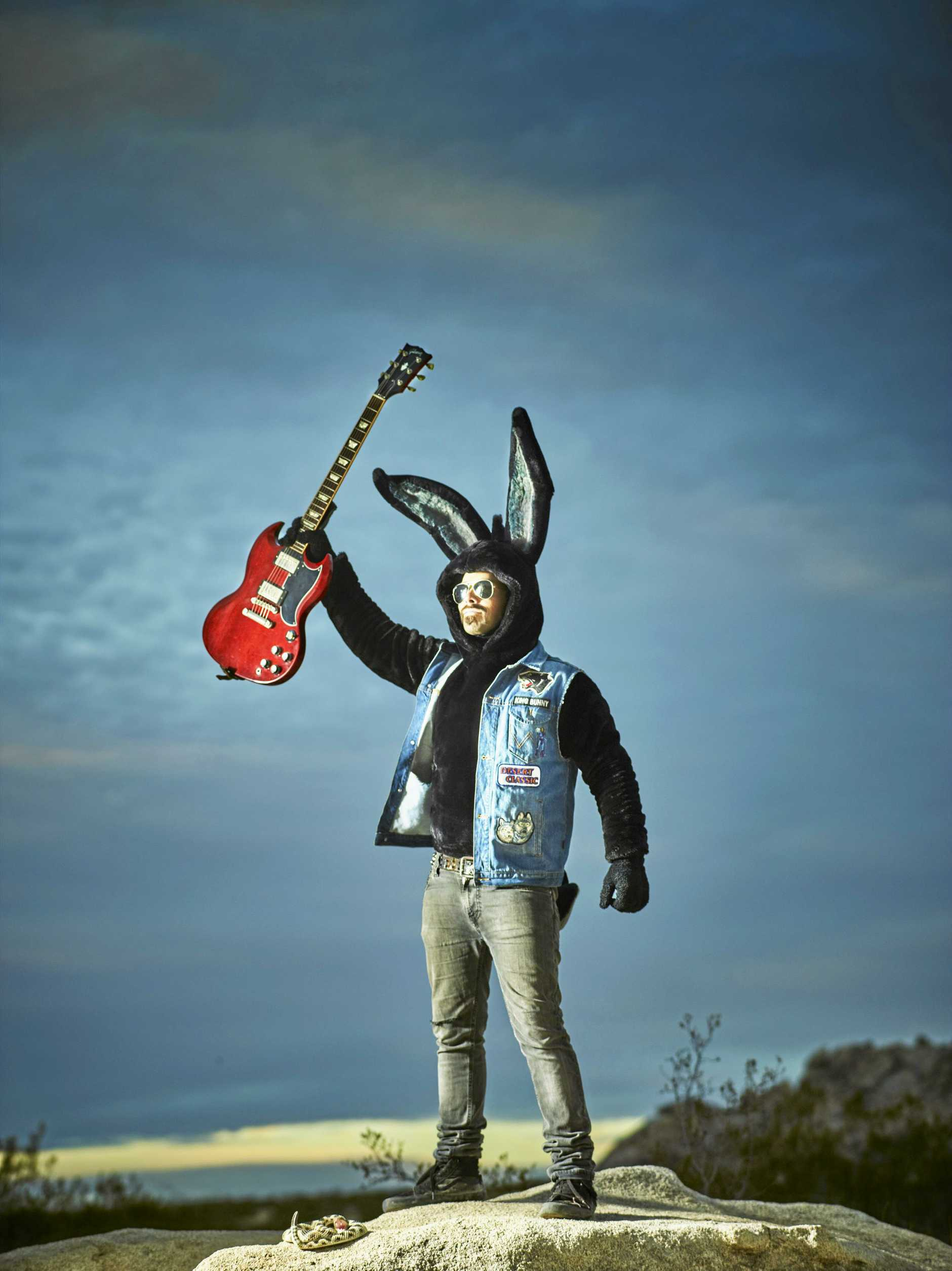Bangalow's Andy Walker is King Bunny, the star of children's music project Bunny Racket.