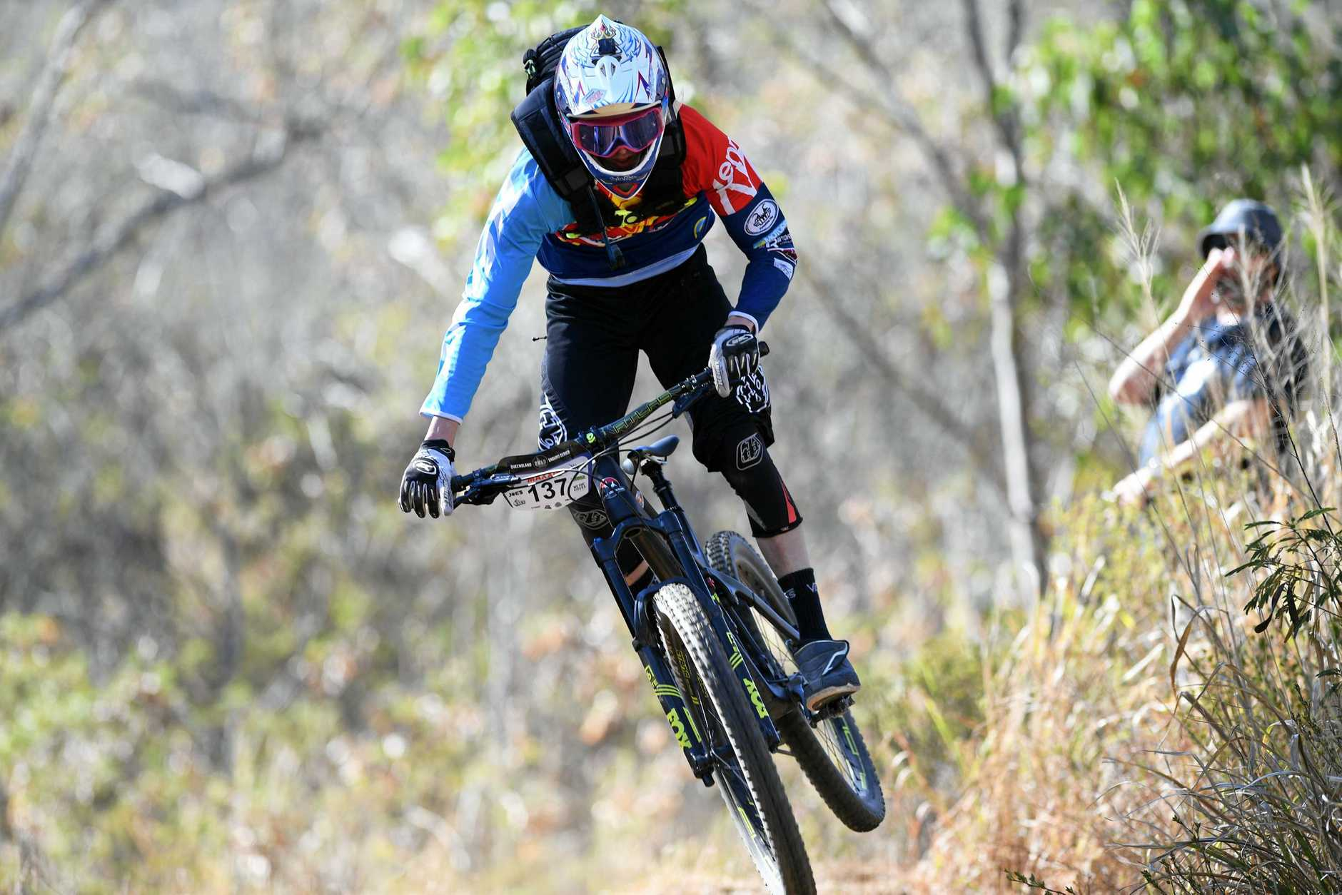 Rockhampton's Zane Keleher takes on the First Turkey trails during the fourth and final round of the CQ Enduro Series on Sunday.