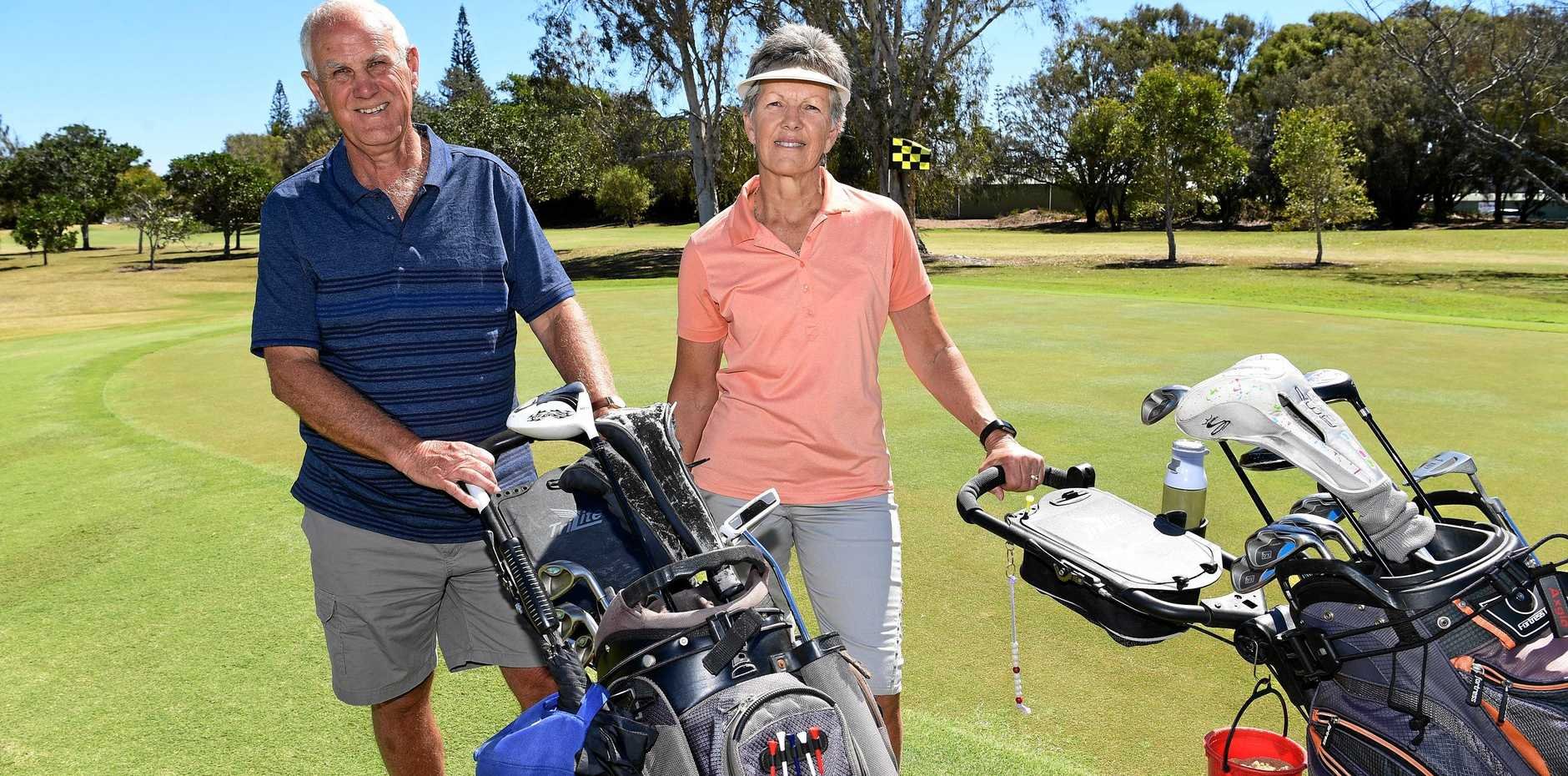 HIT WITH VISITORS: Steve and Cheryl Shaw, of Melbourne, enjoy playing at Bargara Golf Club.