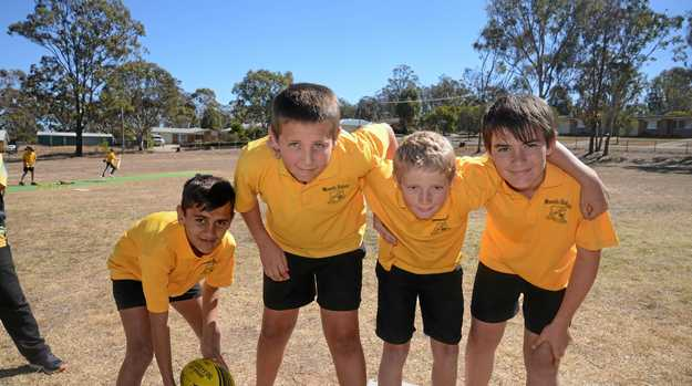 Halfback Cooper Murray and fellow Glennie Heights State School students Chase Martin-Brown, Zak Cullen and Lachlan Nolan are looking forward to the Broncos Challenge.