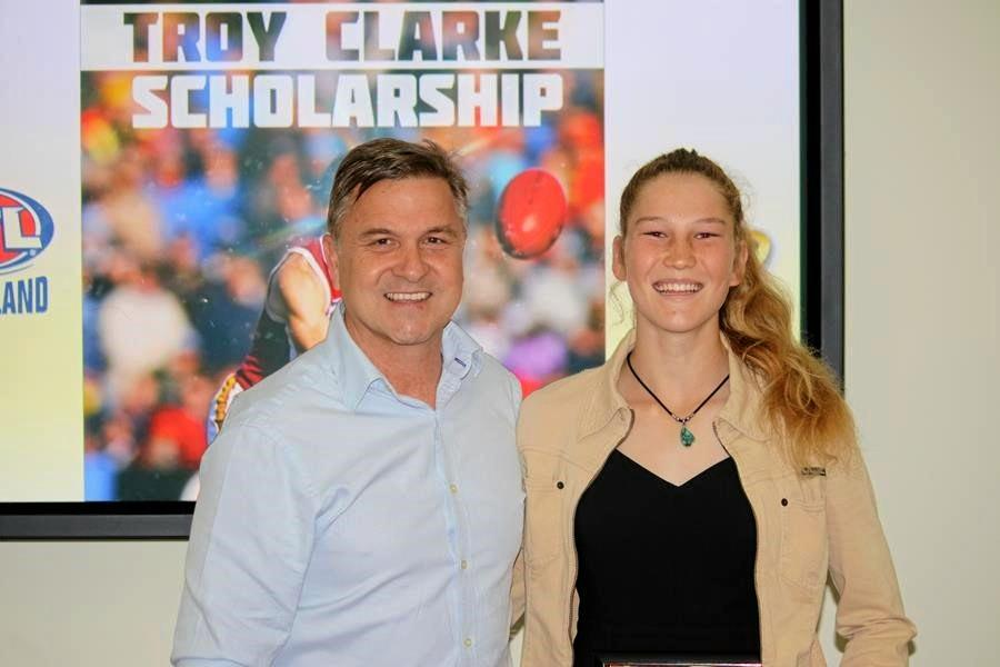 Mackay's Alana Gee has been awarded the 2019 Troy Clarke Scholarship, named after former Brisbane Bear and AFL Queensland Development Manager Troy Clarke.