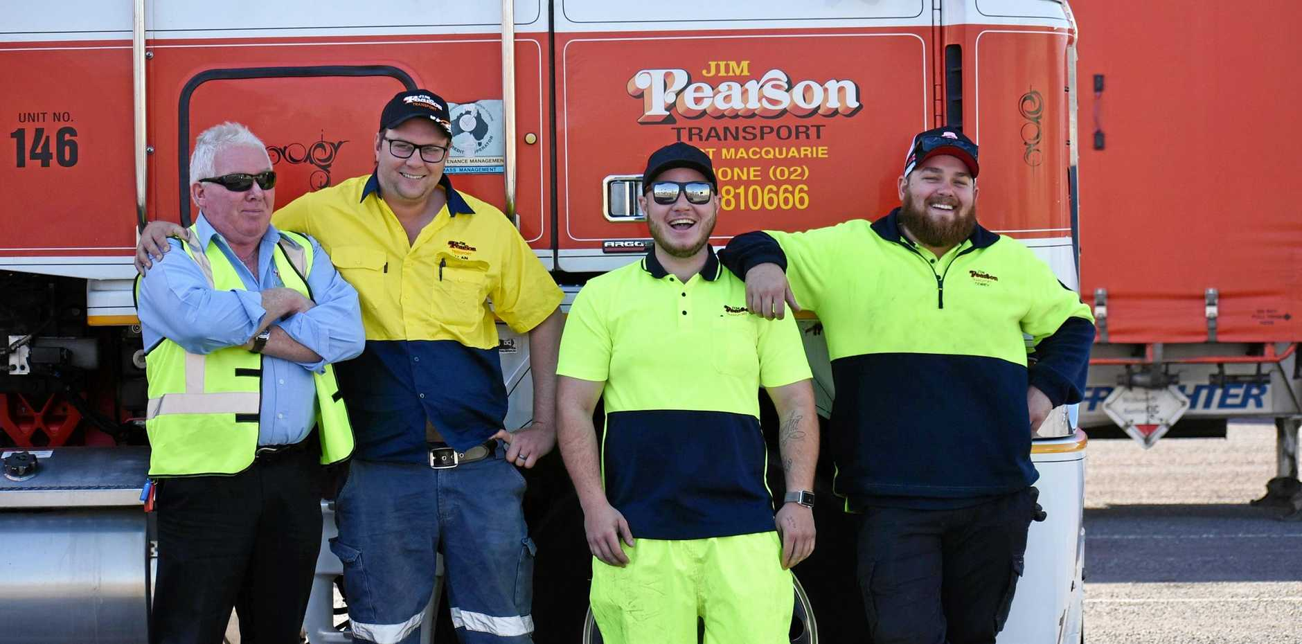 Jim Pearson Transport driver trainer Charles Knight with trainees Matthew Maitland, Jaidyn Gray and Corey Luzzi at the Grafton depot.