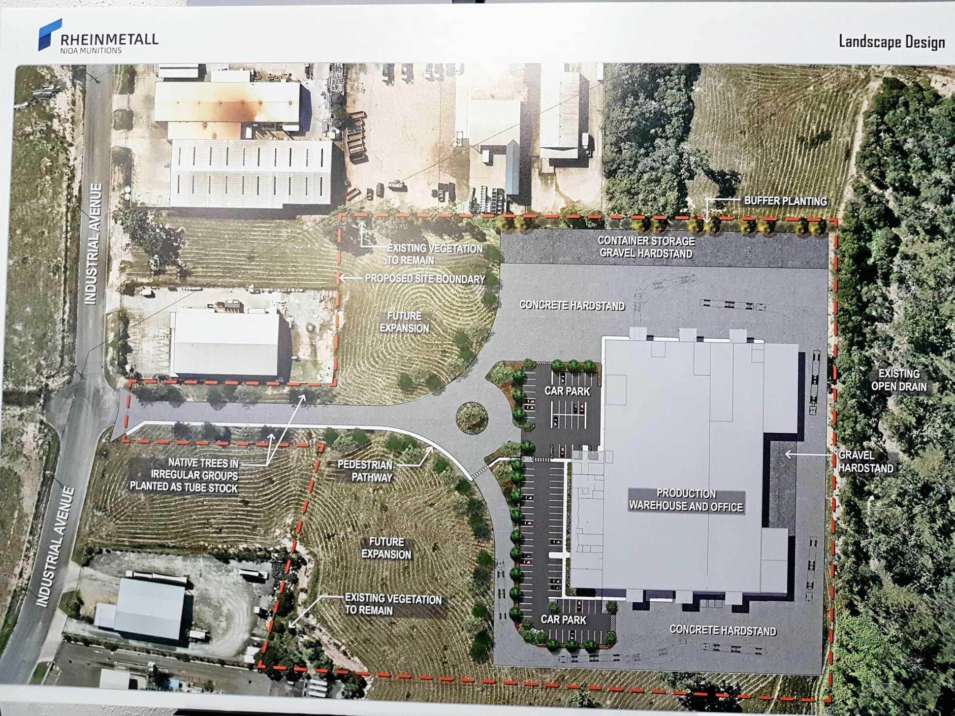 Concept designs of the Rheinmetall NIOA Munitions factory at Maryborough's Moonaboola Industrial Estate.