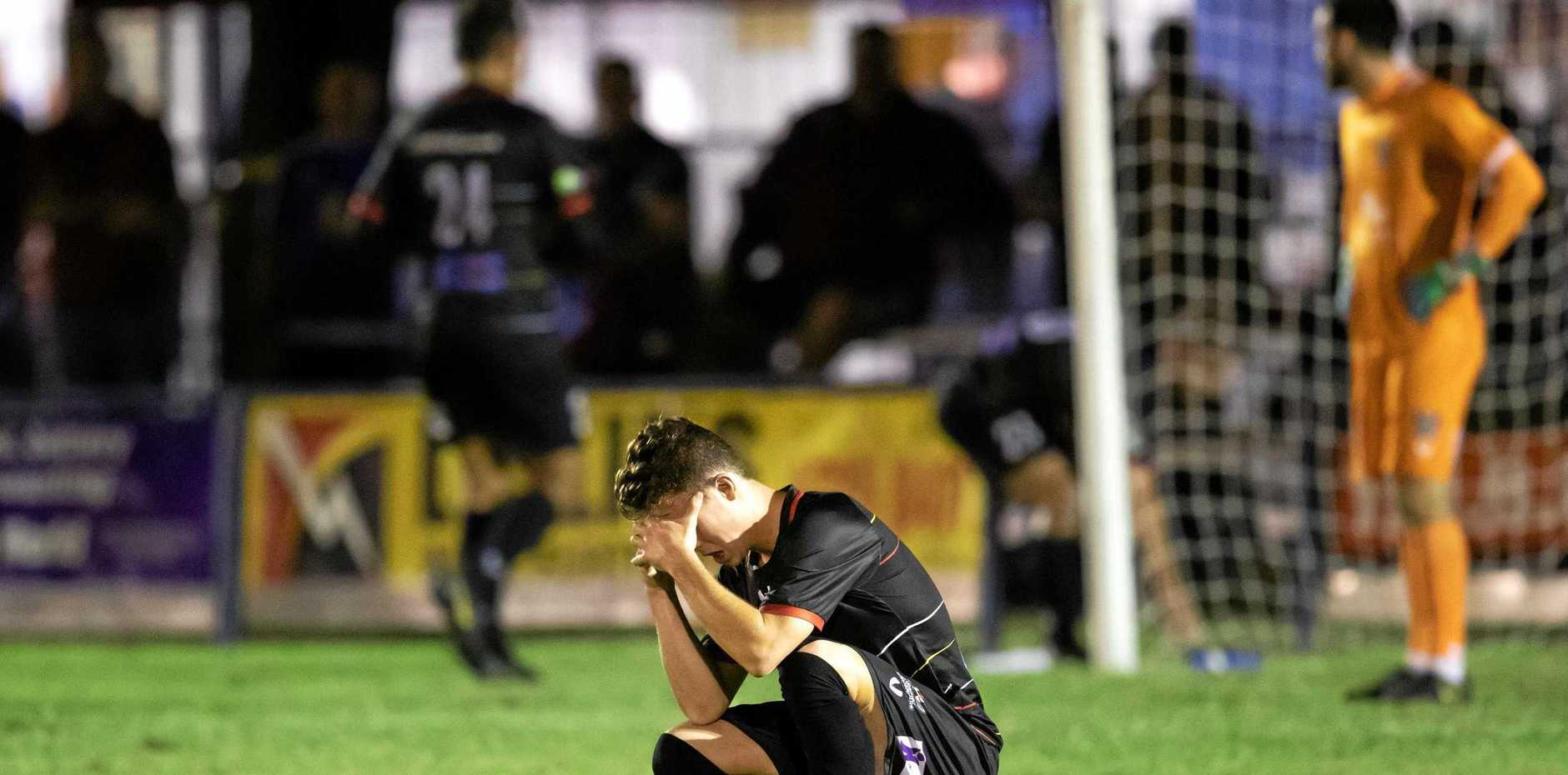 BROKEN: Magpies Crusaders were thoroughly dismantled by a clinical Brisbane Strikers, to the tune of 11 goals to nil, at Sologinkin Oval on Saturday night.