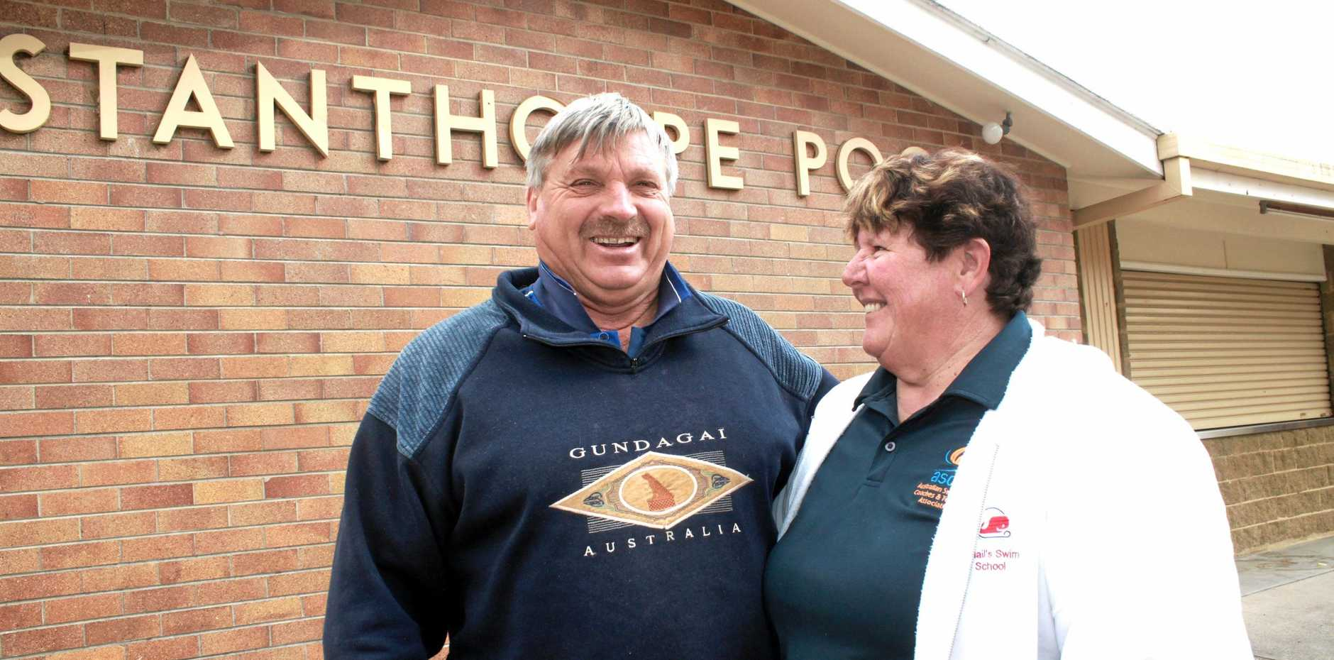 NO CLOSURE: Stanthorpe pool operators Michael and Gail Smail will open the doors in September .