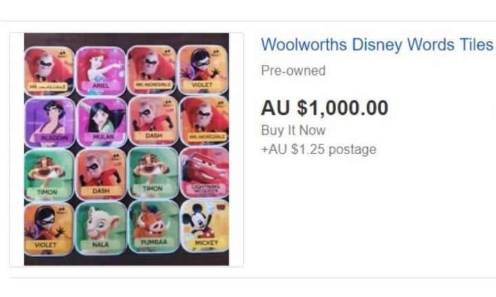 The best collection from Woolies to sell is the Disney Words Tiles. Source: eBay
