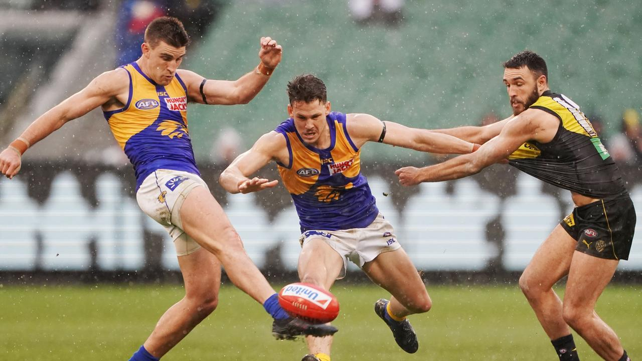 West Coast can still finish top of the ladder despite losing on Sunday to Richmond. Picture: AAP Image/Michael Dodge.