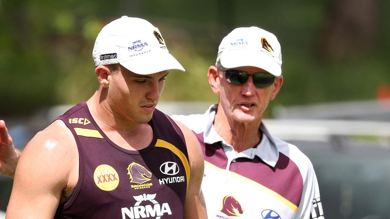 Corey Oates with coach Wayne Bennett during a training session in 2017. Picture: Tara Croser