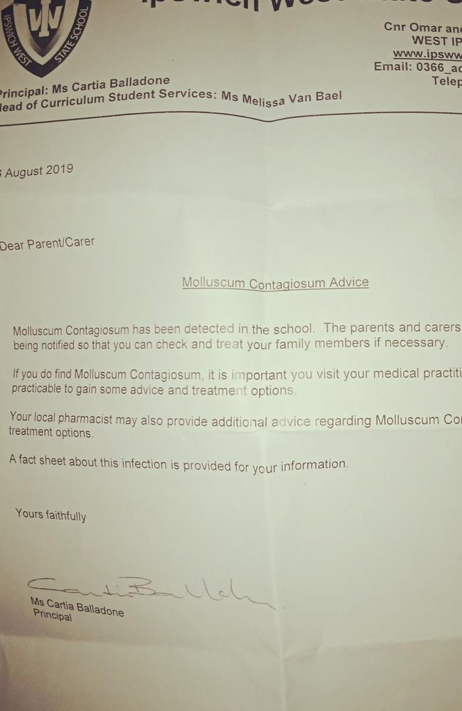 The letter signed by the principal.