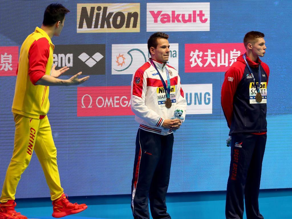 Sun Yang wasn't happy with Duncan Scott's protest.