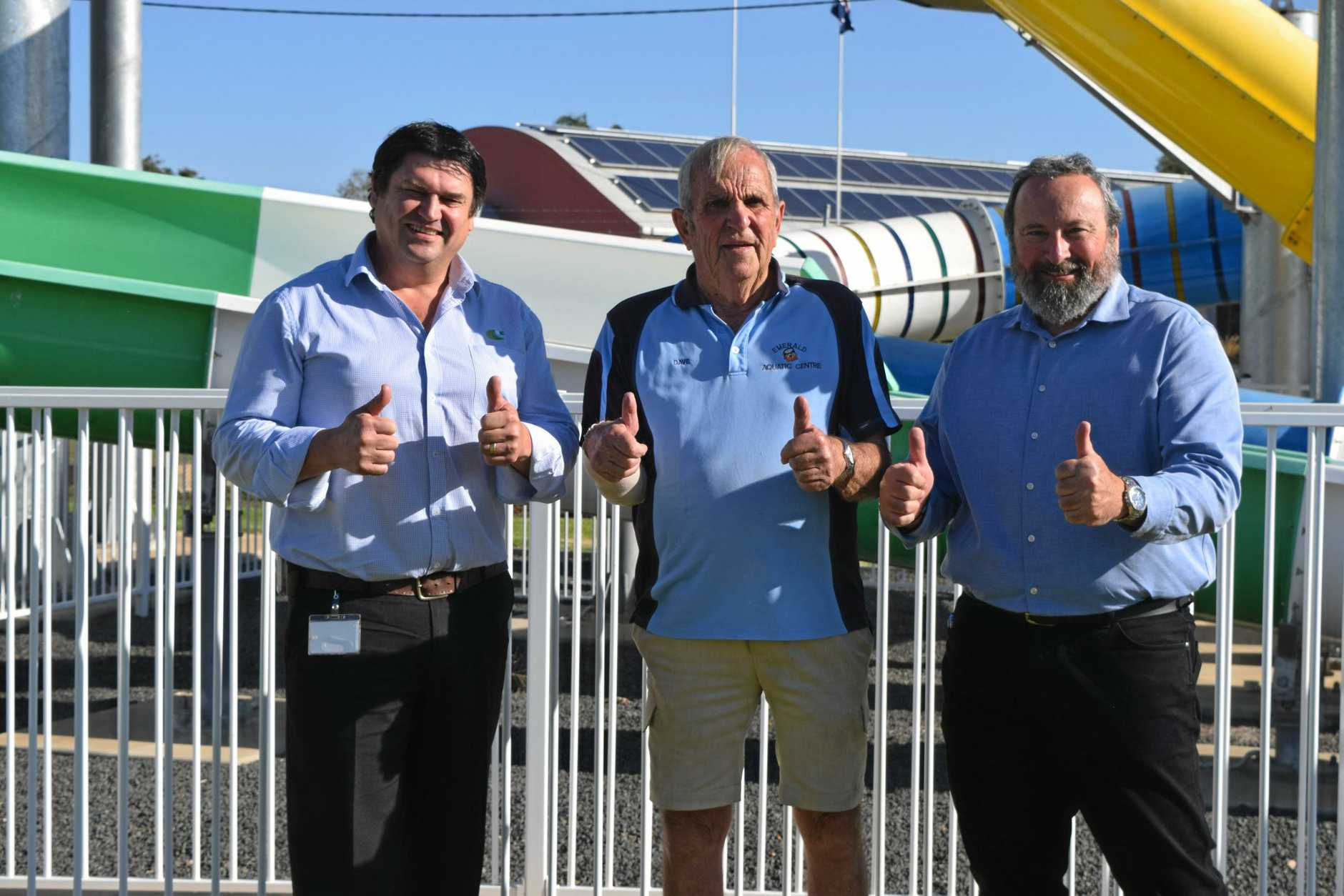 FRUITFUL TALKS: Central Highlands Regional Council CEO Scott Mason, Bobtrac Swim School Pty Ltd director Dave Greaves and CHRC manager of community recreation and facilities Steven Gatt are pleased the water slides will reopen.