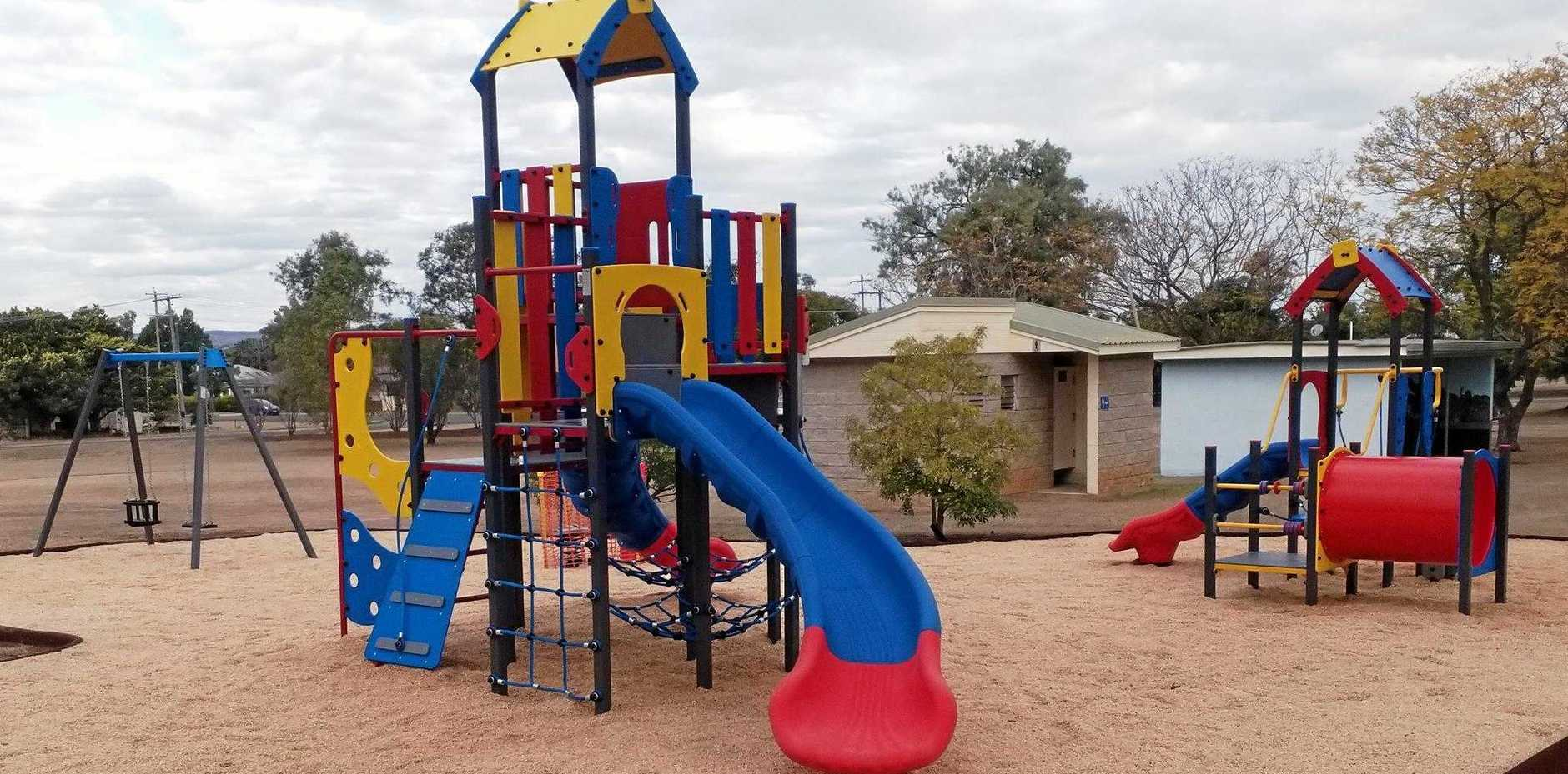 LOOKS LIKE FUN: The new play equipment at Half Penny Park in Mundubbera.