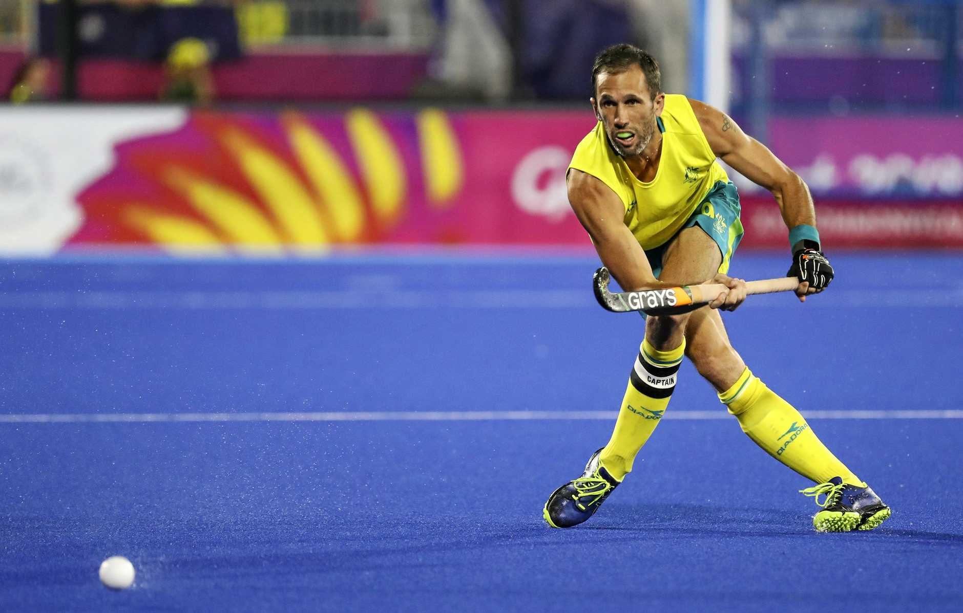 GOING FOR GOLD: Mark Knowles at the Gold Coast 2018 Commonwealth Games Hockey Centre playing for the Kookaburras v South Africa.