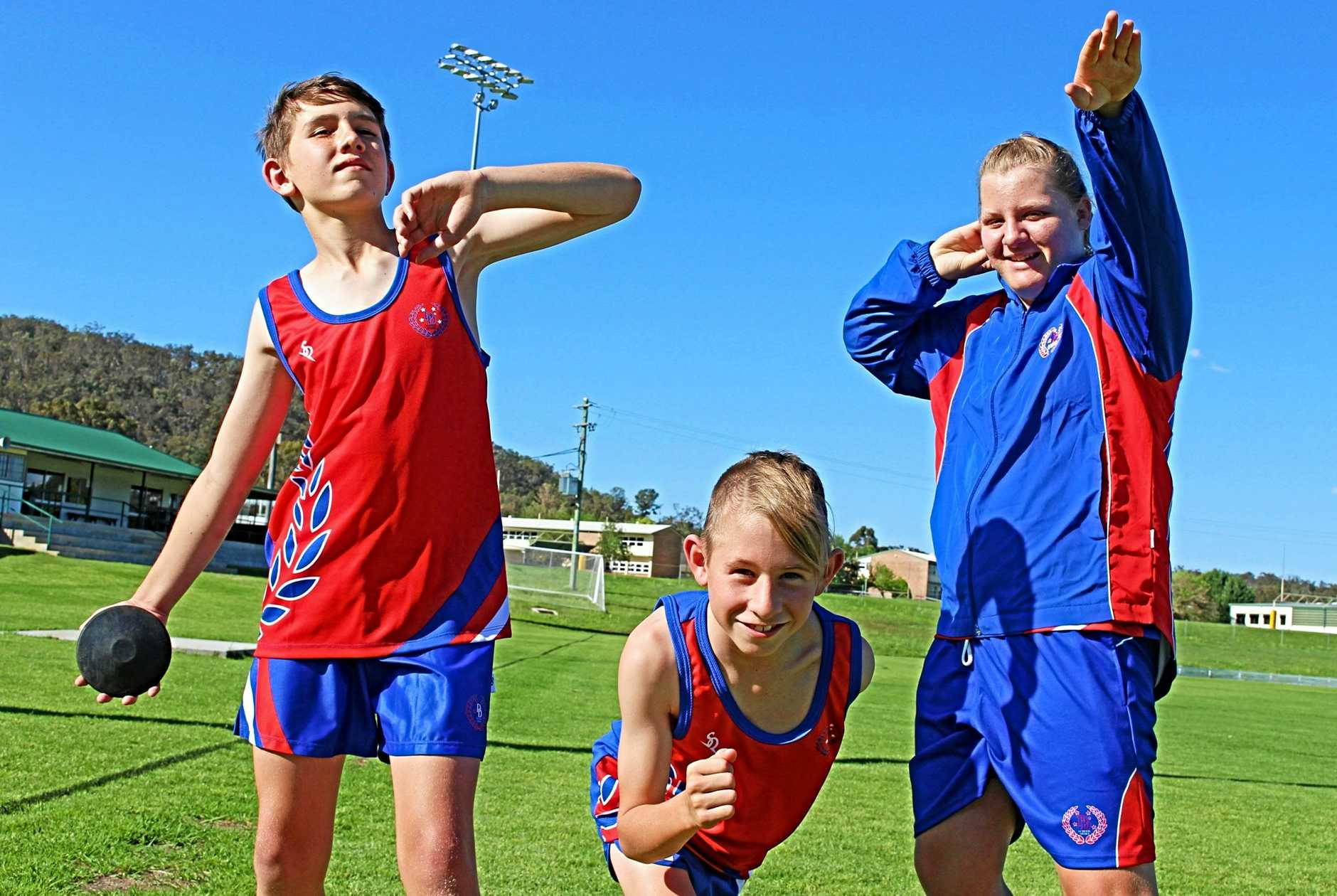 HIGH ACHIEVERS: Jacob Kent, Alex Waterworth and Katie-Lee Jansick competed in the state athletics championships last week in Brisbane.