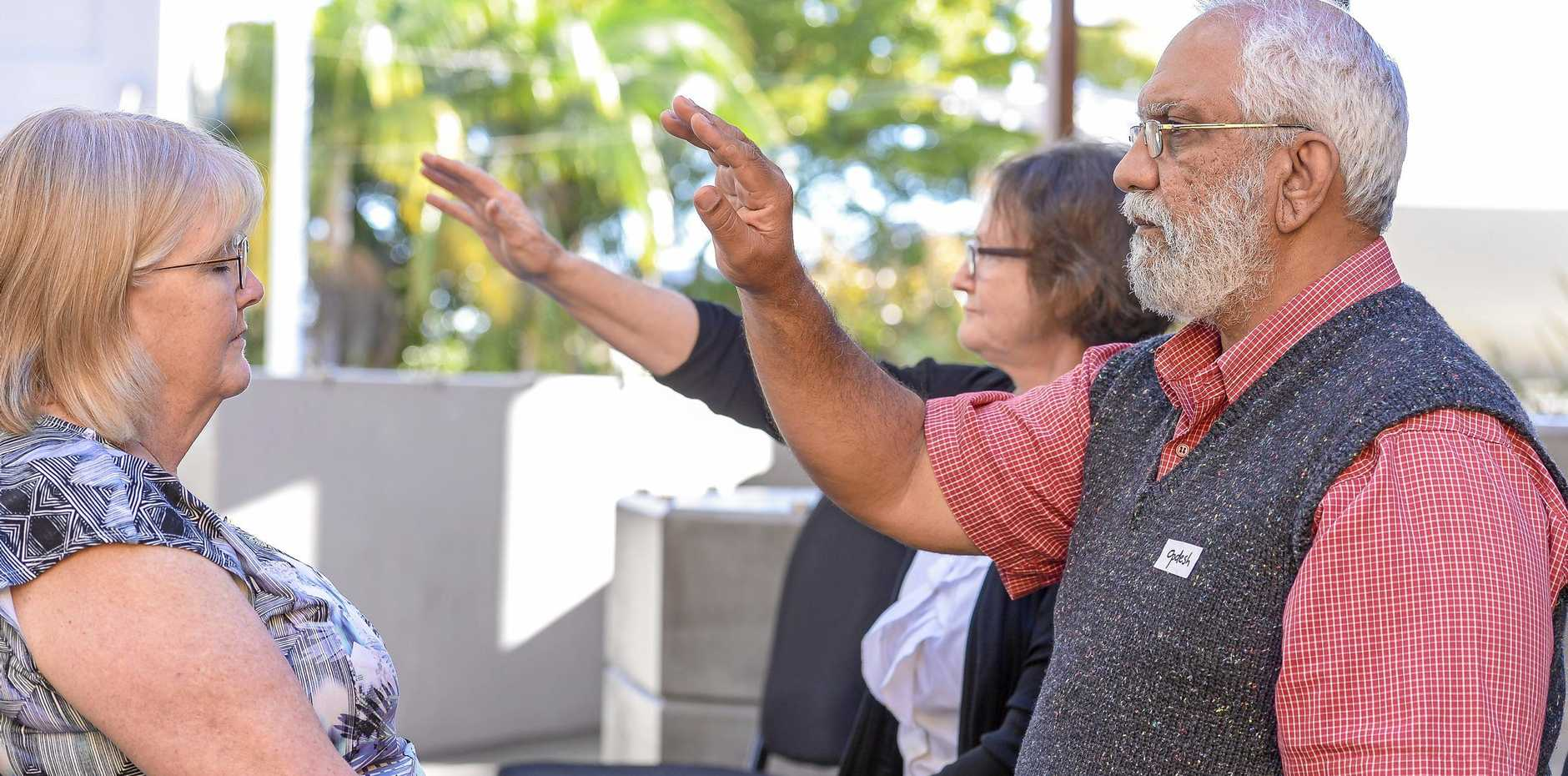 Opdesh was one of the practitioners at the come and try True Light sessions were held as part of the Gladstone Regional Council seniors week activities.