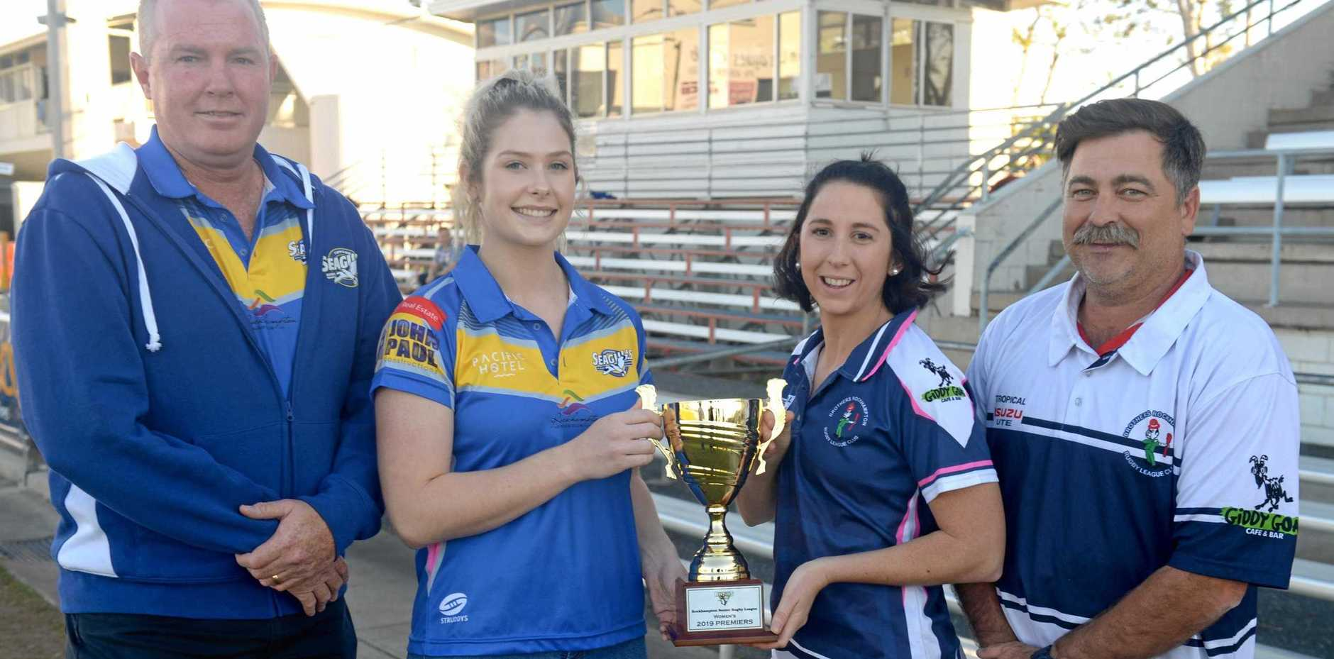 EYES ON THE PRIZE: Yeppoon women's coach Paul Minto and captain Meg Neven with Rockhampton Brothers captain Hannah Burke and coach Dominic Draper.