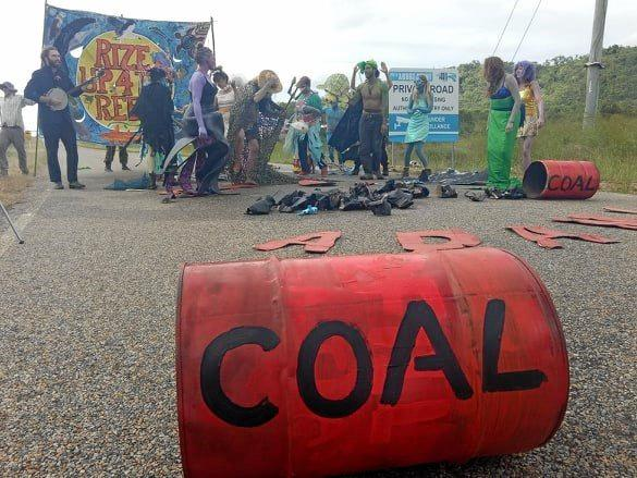 Protesters dressed as dead fish and Ursula from The LIttle Mermaid on the Abbott Point Coal Terminal road.
